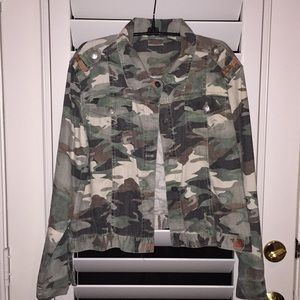 Chico's green camo jean jacket